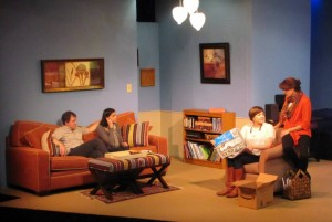 """Carly (second from right) performing in a production of """"Rabbit Hole,"""" with JSA Account Director Dean Perrine (far left)."""