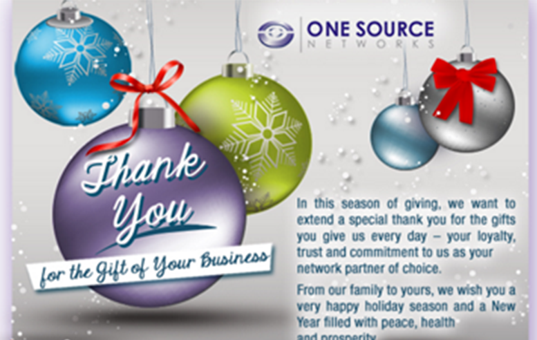 One Source Networks 2012 Holiday E-Card (December) - JSA
