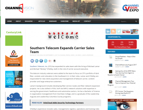 Southern Telecom – Southern Telecom Expands Carrier Sales Team (ChannelVision Magazine)