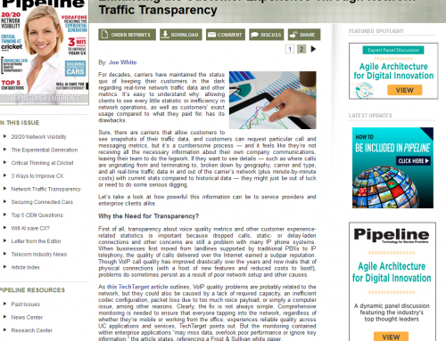 Enhancing the Customer Experience Through Network Traffic Transparency (Pipeline Magazine)